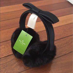 NWT Kate Spade Black Faux Fur Earmuff with Bow